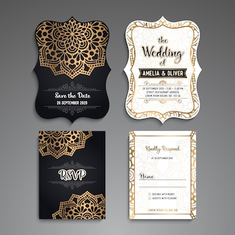 Luxury wedding and rvsp cards