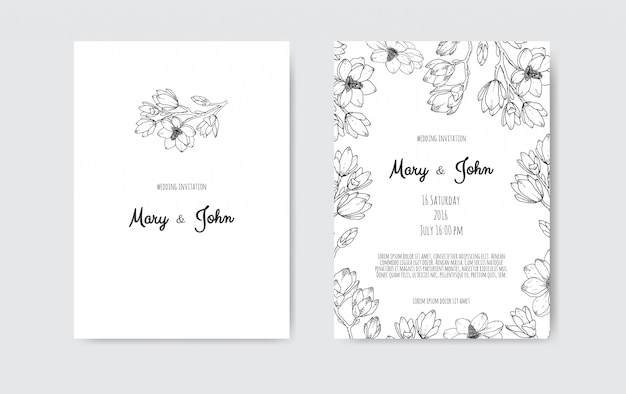 Luxury wedding save the date, invitation navy cards collection with gold foil flowers and leaves and wreath.