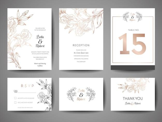 럭셔리 웨딩 날짜, 금박 꽃과 모노그램 로고 벡터 디자인 서식 파일 초대 카드 컬렉션을 저장