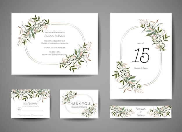 Роскошная свадьба save the date, коллекция пригласительных билетов с листьями золотой фольги и венком. вектор модные обложки, графический плакат, геометрические цветочные брошюры, шаблон оформления