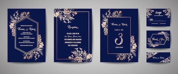 Роскошная свадьба save the date, коллекция пригласительных карт с золотой фольгой, цветами, листьями и венком. вектор модные обложки, графический плакат, геометрические цветочные брошюры, шаблон оформления