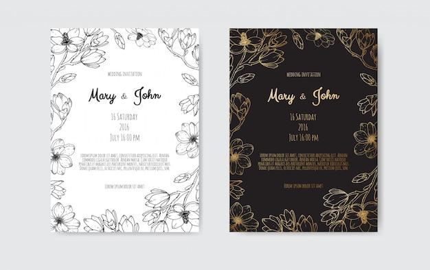 豪華な結婚式は、金箔の花と葉と花輪の日付、招待状の海軍カードコレクションを保存します。