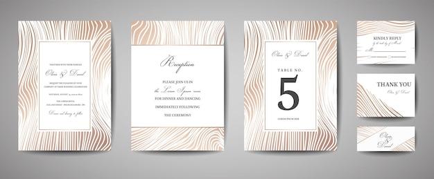 럭셔리 웨딩 날짜 저장, 금박 나무 질감으로 초대 해군 카드 컬렉션. 벡터 유행 표지, 그래픽 포스터, 기하학적 꽃 브로셔, 디자인 서식 파일