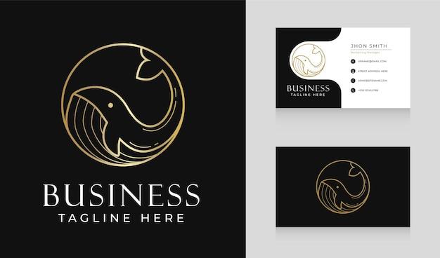 名刺テンプレートを使用した高級クジラ サークル ライン ロゴ デザイン