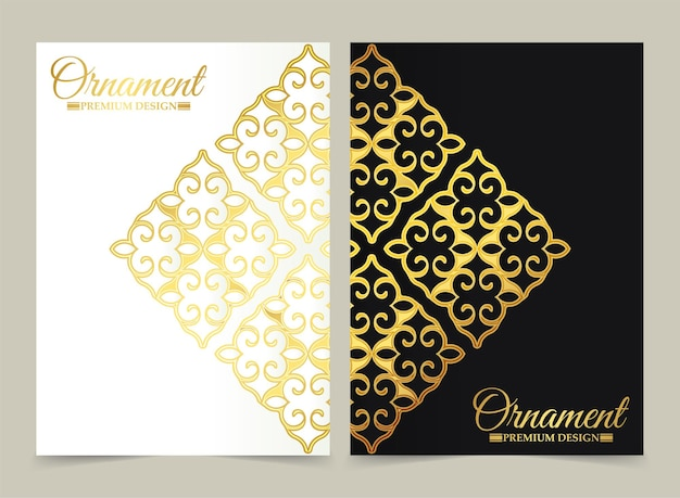 Luxury white and black ornament pattern cover