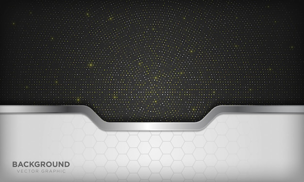 Luxury white and black overlap background with realistic silver line and hexagon on shiny golden radial halftone.