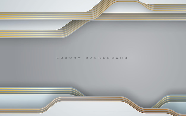 Luxury white dimension background with gold line decoration