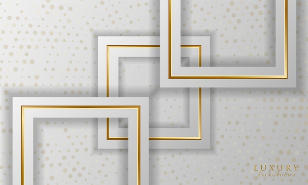 Luxury white and gold square lines background with sparkle dots elements elegant design template