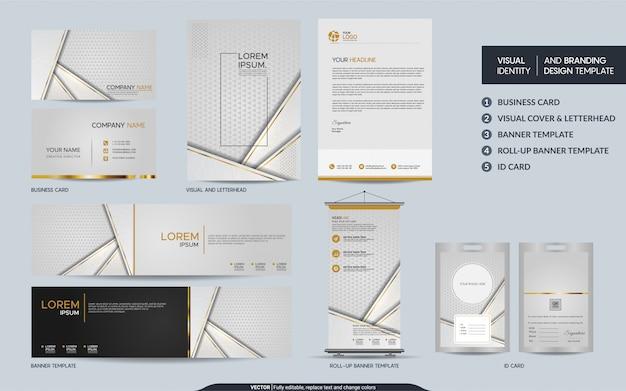 豪華なホワイトゴールドの文房具のセットと抽象的なオーバーラップレイヤーと視覚的なブランドアイデンティティをモックアップします。