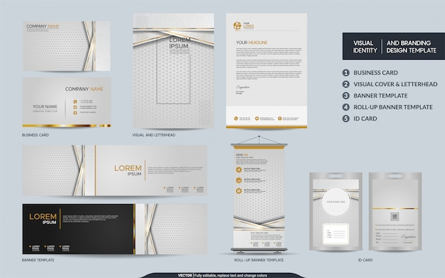 Luxury white gold stationery mock up set and visual brand identity with abstract overlap layers