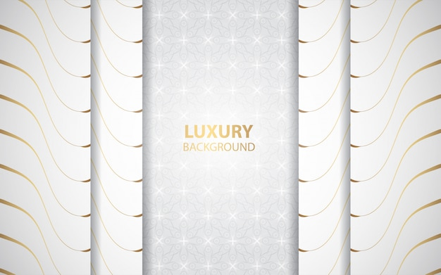 Luxury white paper shapes background with golden line decoration