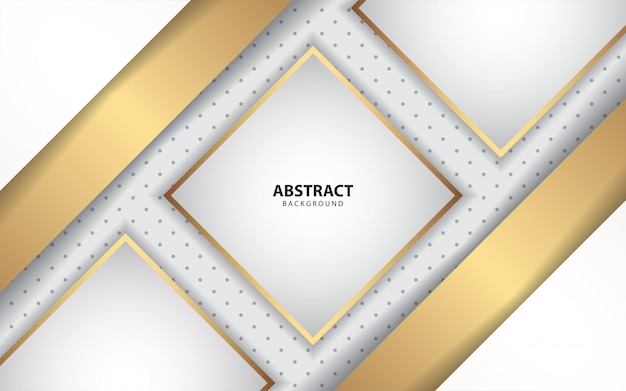 Luxury white paper shapes with golden decoration