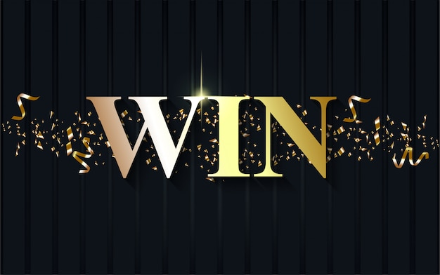 Luxury win on dark blue background.
