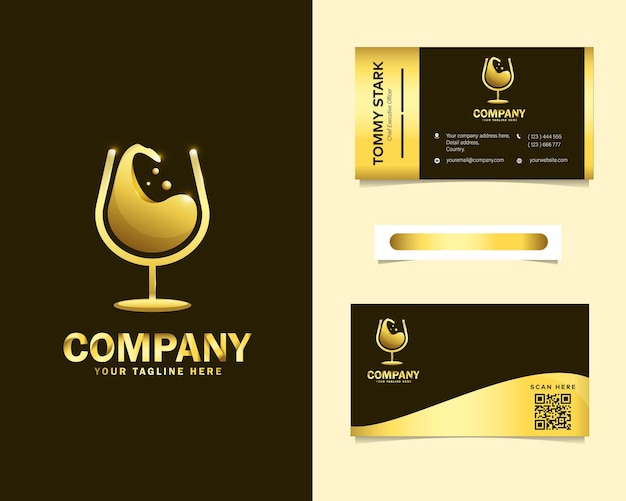 Luxury wine logo with stationery business card template