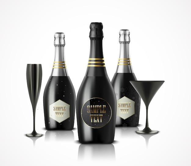 Иллюстрация роскошных бокалов и бутылок вина из шампанского