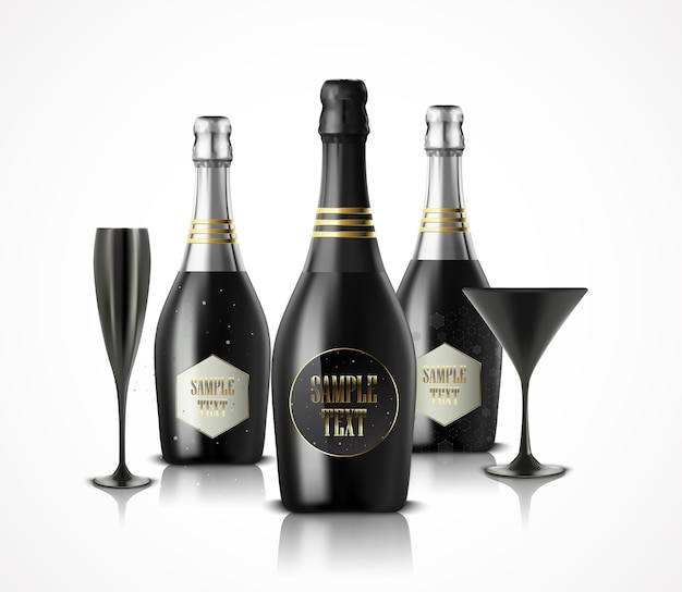 Luxury wineglass and champagne wine bottles illustration