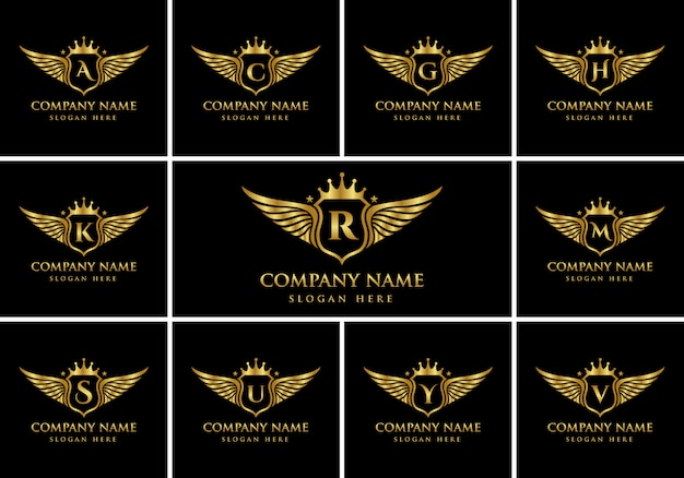 Luxury wing emblem alphabets logo set with crest gold color logo