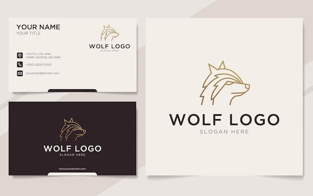 Luxury wolf outline logo and business card template