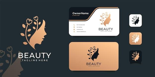 高級女性のヘアサロンの顔のロゴのデザインコンセプト。