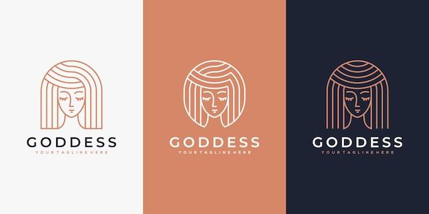 라인 아트 스타일로 스킨 케어, 살롱 및 스파를 위한 고급 여성 로고 디자인 영감
