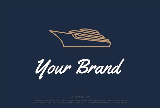 Luxury yacht boat ship line outline logo design vector