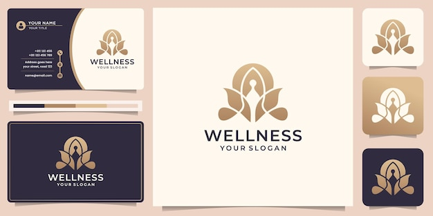 Роскошная медитация с логотипом йоги с абстрактным логотипом природы и дизайном визитной карточки premium векторы