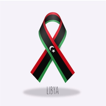Lybia flag ribbon design