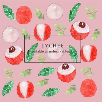 Lychee watercolor seamless pattern