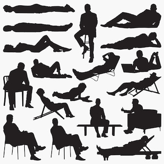 Lying down silhouettes