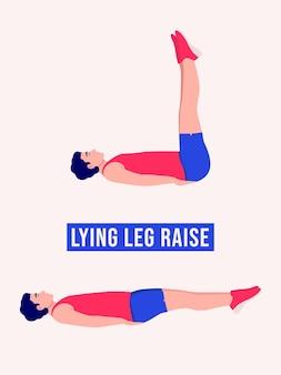 Упражнение с подъемом ног лежа мужчины тренировки фитнес-аэробика и упражнения