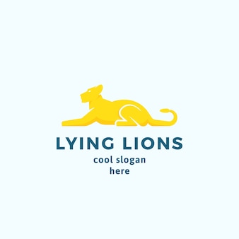Lying lions abstract  sign, emblem or logo template. flat style graceful lioness silhouette with typography.