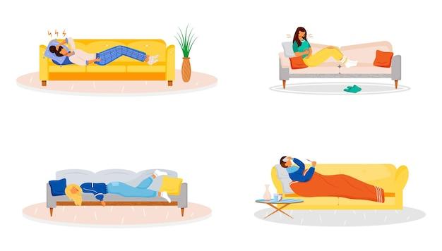 소파 플랫 컬러 벡터 익명 문자 세트에 누워. 소파에 쉬고 아픈 사람들. 몸이 좋지 않은 사람. 아픈 여자. 독감으로 인한 약점. 질병 증상은 흰색 배경에 고립 된 만화 일러스트