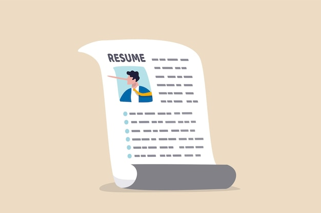 Lying on resume cv to get hired, dishonesty or integrity problem on work experience and career history, fake education degree concept, resume paper with photo of liar pinocchio long nose businessman. Premium Vector