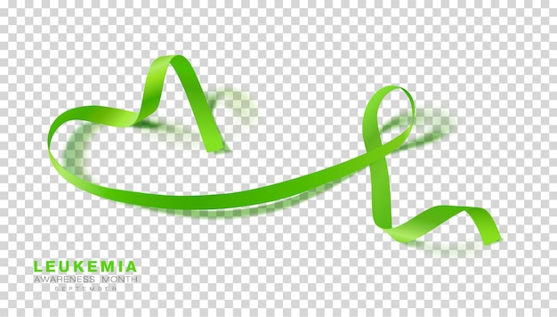 Lymphoma awareness month lime green color ribbon isolated on transparent background