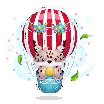 かわいいlynxが空の熱気球を飛ぶ