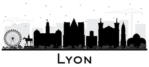 白で隔離される黒い建物とリヨンフランス市のスカイラインのシルエット。ベクトルイラスト。歴史的な建築と出張とコンセプト。ランドマークのあるリヨンの街並み。