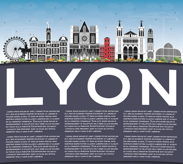 Lyon france city skyline with color buildings, blue sky and copy space. illustration