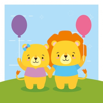Lyon with balloon, cute animals, flat and cartoon style, illustration