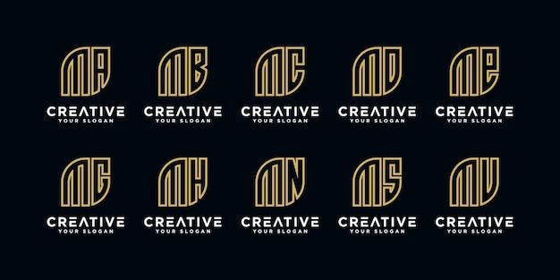 Mなどのロゴデザインテンプレートのイニシャル
