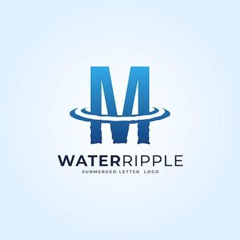 M青いグラデーション文字水波紋スプラッシュ波ダイナミックロゴベクトルアイコンイラスト