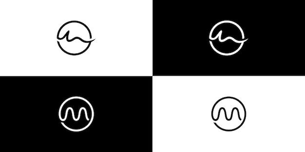 M круг логотип дизайн начальной буквы