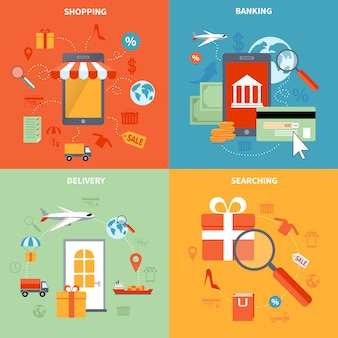 M-commerce and shopping elements set with searching banking and delivery symbols flat isolated vector illustration