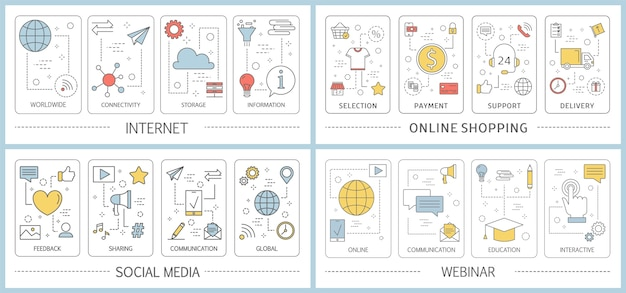 M- 커머스 웹 배너 세트. 온라인 쇼핑 및 모바일