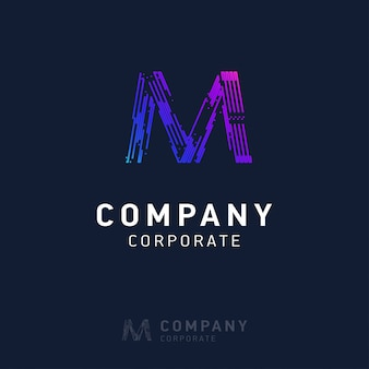 M company logo design with visiting card vector