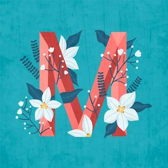 M creative letter alphabet