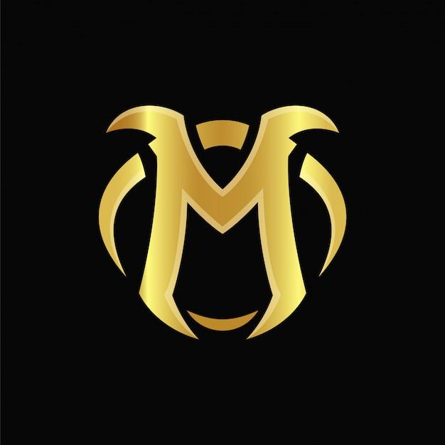 M gold дизайн логотипа