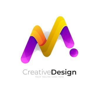 Mアイコンテンプレート、シンプルなデザインのシンボルmロゴ