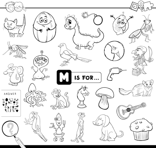 M is for educational game coloring book