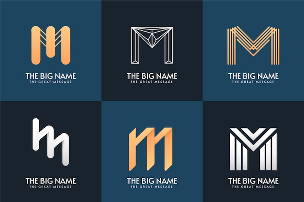 M letter logo collection design