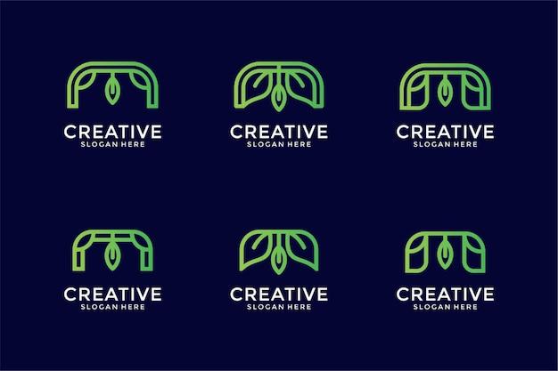 葉のコンセプトを持つm文字ロゴコレクションモノグラム